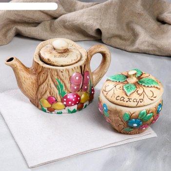 Чайная пара пенек с яблоком чайник+сахарница, 1 л/ 0,6 л