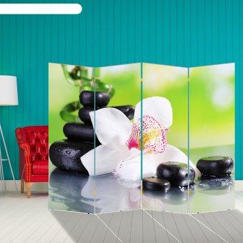 Ширма орхидея с камнями, 200 x 160 см