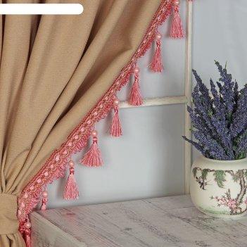 Тесьма «кисть с лентой», 10 см, 13 ± 1 м, цвет розовый