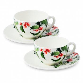 Набор из 2-х чайных пар остролист, объем: 300 мл, материал: фаянс, цвет: б