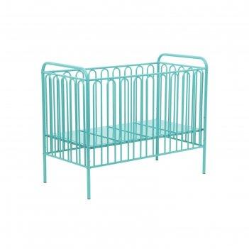 Детская кроватка polini kids vintage 150 металлическая, цвет бирюзовый