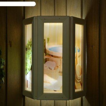 Абажур деревянный банные аксессуары со вставками из стекла с уф печатью, 3