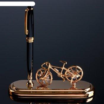 Ручка на подставке велосипед с кристаллами сваровски 16,2х16,2 см