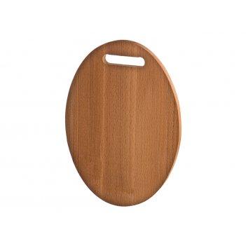 Доска разделочная овал с прорезями деревянная бук 33*23*2 см. (кор=10шт.)