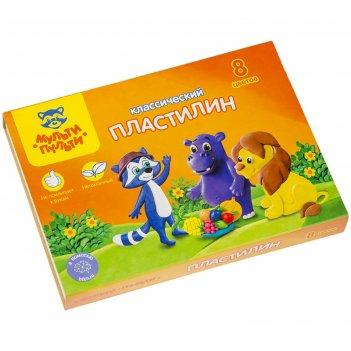 Пластилин 8 цветов 160 гр мульти-пульти «приключения енота» со стеком 2364