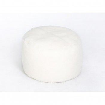 Пуфик «софт», диаметр 46 см, белый, мех