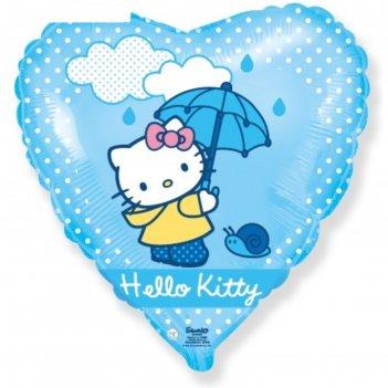 Шар фольгированный 18 сердце hello kitty. котенок с зонтиком голубой, 1 шт
