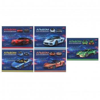Альбом для рисования а4, 24 листа на скрепке car design, картонная обложка