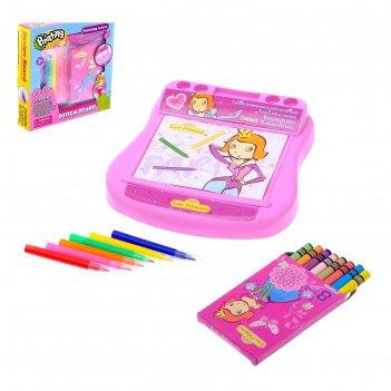 Доска для рисования «принцесса» с фломастерами и карандашами