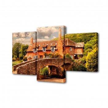 Модульная картина на подрамнике поместье, 26x50 см, 26x40 см, 26x32 см, 50