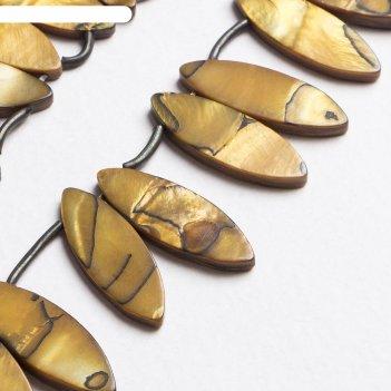 Бусины эллипс перламутр (33 бусины), цвет золотой