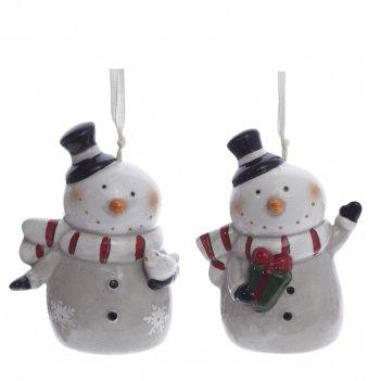 Украшение новогоднее снеговик колокольчик, l5,5 w7,5 h9,5 см, 2в.
