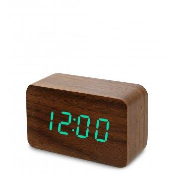 Ял-07-05/15 часы электронные сред. (коричневое дерево с зелёной подсветкой