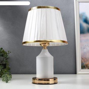 Лампа настольная 16136/1wt e27 40вт бело-золотой 21х21х34 см