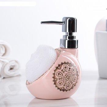 Дозатор для моющего средства с губкой мехенди, цвет розовый