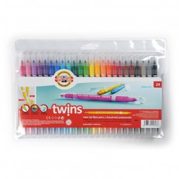 Фломастеры 24 цвета koh-i-noor 1023/24 twins , двусторонние, пакет, европо