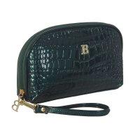 Косметичка п/овал, l-к211, 23*4*15см, 4отд, н/карман, с ручкой, зеленый