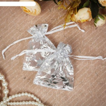 Мешочек подарочный розы серебристые 7*9, цвет белый с серебром