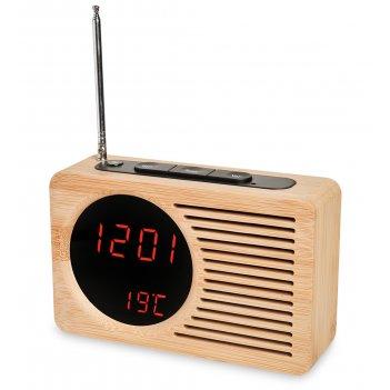 Ял-07-24/1 радио-часы  (жёлтое дерево с красной подсветкой)