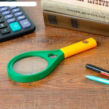 Лупа сувенирная капля х5 с компасом, цвет зеленый с желтой ручкой