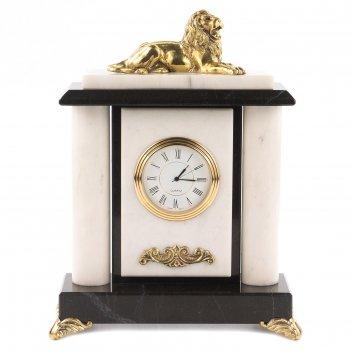 Часы лев мрамор бронза 165х70х210 мм 1900 гр.