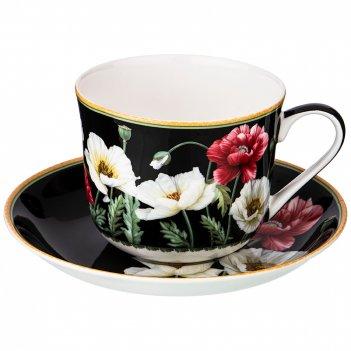 Чайный набор на 1 персону маки 2 пр. 500 мл черный (кор=18наб.)