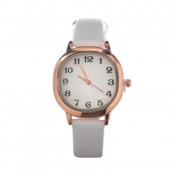 Часы наручные женские иса, d=3 см, экокожа, белые