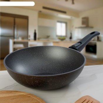 Сковорода-вок 28 см гранит, высота 9 см, съёмная ручка