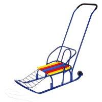 Санки кирюша-7к с толкателем и колесами, цвет синий