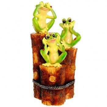 Фигура декоративная садовая три лягушки на пеньках l23 w15...