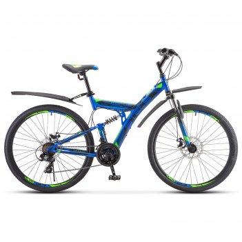 Велосипед 27,5 stels focus md, v010, цвет синий/неоновый-зеленый, размер 1