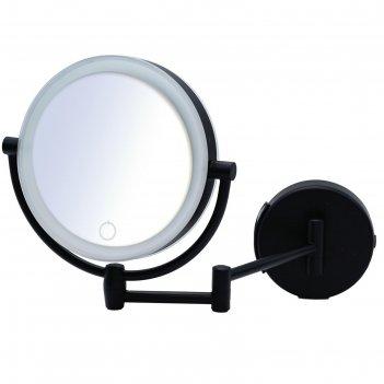 Зеркало косметическое подвесное shuri, 1х/5х, led, сенсор, usb, цвет чёрны