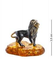 Am-411 фигурка лев (латунь, янтарь)