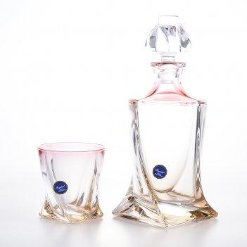 Набор для виски 7 предметов красная bohemia gold