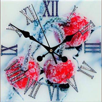 Картина сваровски - часы зимняя вишня