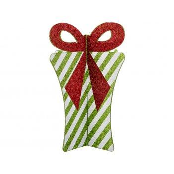 Декоративное изделие 3d подарок с бантиком цвет:оливковый в полоску 34*27