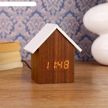 Часы электронные домик с термометром и календарем, 11х10 см, 3ааа
