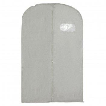 Чехол для одежды с окном, спанбонд, цвет серый
