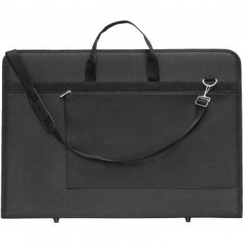 Папка а2 с ручками текстиль 640*450*30 мм estado с карманом, чёрная