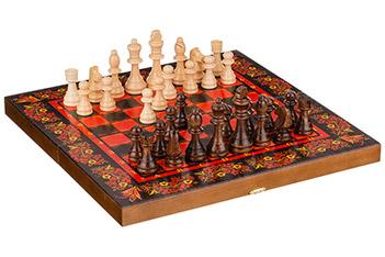 Набор: шахматы-нарды-шашки, средние 3 в 1 хохлома...