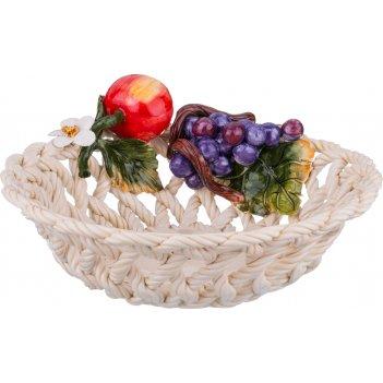 Изделие декоративное корзина с фруктами диаметр=27 см высота=9 см