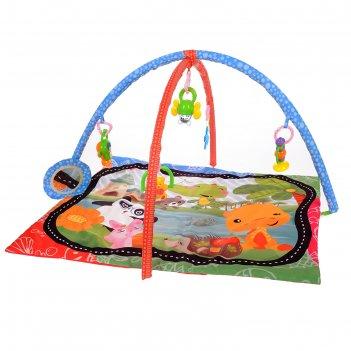 Развивающий коврик с дугами «панда и друзья», 5 игрушек + безопасное зерка