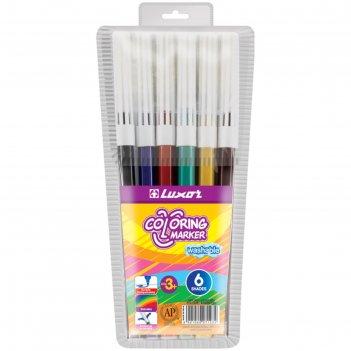 Фломастеры 6 цветов luxor coloring смываемые, пвх, европодвес