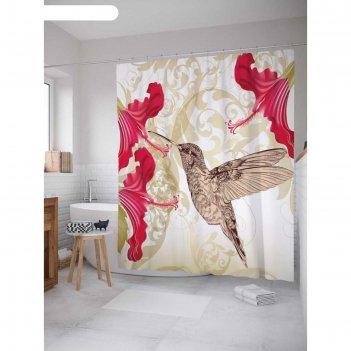 Фотоштора для ванной колибри и цветок, ш 180 х в 200 см, разноцветный