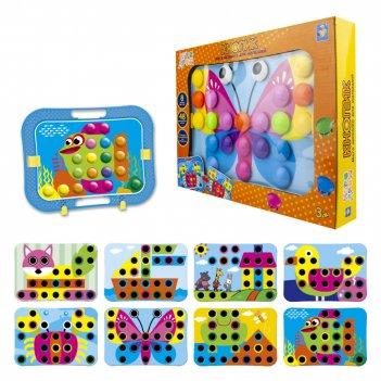 1toy игродром мозаика для малышей кнопик, 48 кнопочек, 8 трафаретов