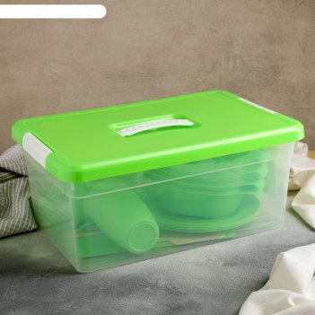 Набор для пикника 23 предметов:контейнер 10л; стакан 250 мл 4 шт;ложка 4 ш
