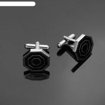 Запонки стальные, восьмигранник с эмалью, цвет черный в серебре