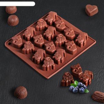 Форма для льда и шоколада «кошки», 16 ячеек, цвет шоколадный