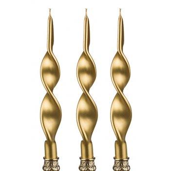 Набор свечей из 3 шт. золотой металлик н=27 см.