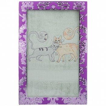 Полотенце банное 70х140 пара кошек, 360 г/м2,махра, 100% бамбук, фисташка